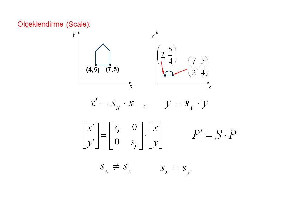 Ölçeklendirme (Scale): (4,5) (7,5) x y x y