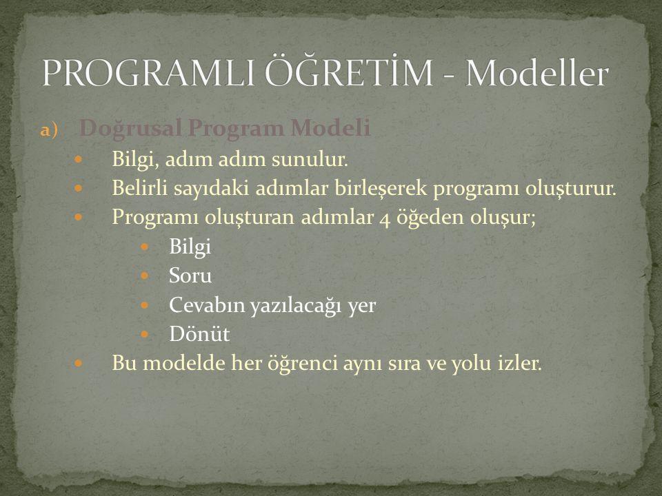 a) Doğrusal Program Modeli Bilgi, adım adım sunulur. Belirli sayıdaki adımlar birleşerek programı oluşturur. Programı oluşturan adımlar 4 öğeden oluşu