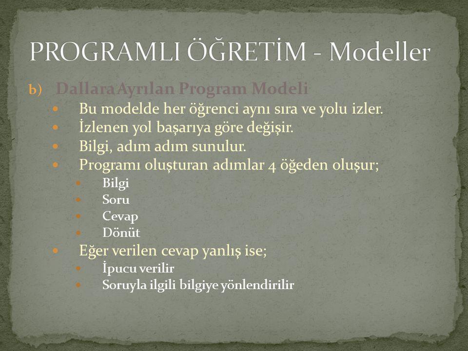 b) Dallara Ayrılan Program Modeli Bu modelde her öğrenci aynı sıra ve yolu izler. İzlenen yol başarıya göre değişir. Bilgi, adım adım sunulur. Program