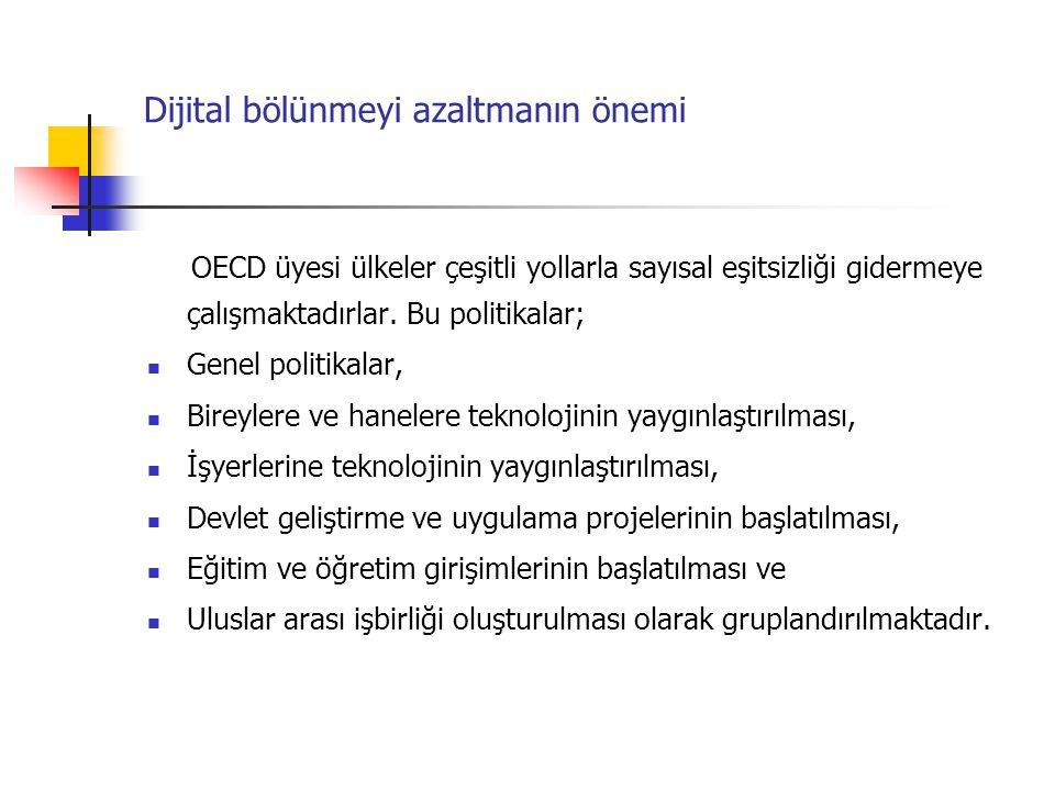 Dijital bölünmeyi azaltmanın önemi OECD üyesi ülkeler çeşitli yollarla sayısal eşitsizliği gidermeye çalışmaktadırlar. Bu politikalar; Genel politikal