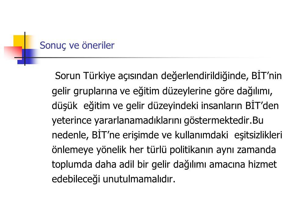 Sonuç ve öneriler Sorun Türkiye açısından değerlendirildiğinde, BİT'nin gelir gruplarına ve eğitim düzeylerine göre dağılımı, düşük eğitim ve gelir dü