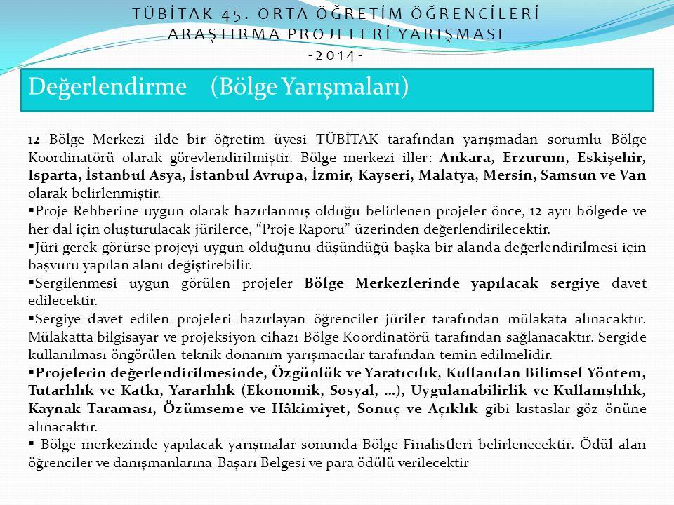 Değerlendirme (Bölge Yarışmaları) TÜBİTAK 45. ORTA ÖĞRETİM ÖĞRENCİLERİ ARAŞTIRMA PROJELERİ YARIŞMASI -2014- 12 Bölge Merkezi ilde bir öğretim üyesi TÜ