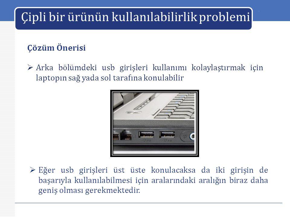 LOGO Çipli bir ürünün kullanılabilirlik problemi Çözüm Önerisi  Arka bölümdeki usb girişleri kullanımı kolaylaştırmak için laptopın sağ yada sol tara