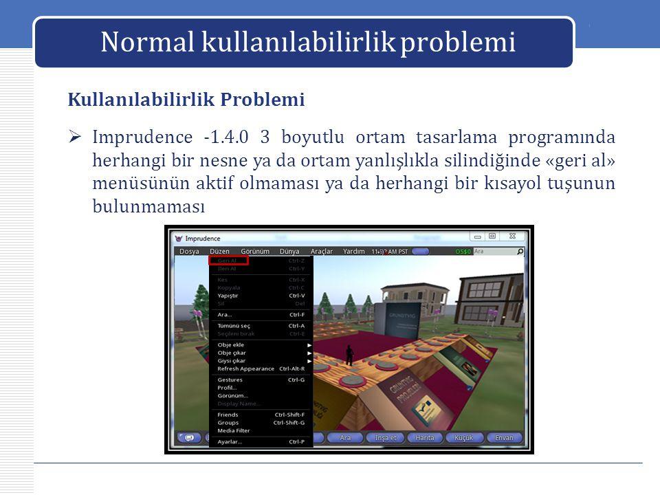 LOGO Normal kullanılabilirlik problemi Kullanılabilirlik Problemi  Imprudence -1.4.0 3 boyutlu ortam tasarlama programında herhangi bir nesne ya da o