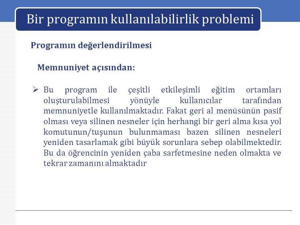 LOGO Bir programın kullanılabilirlik problemi Programın değerlendirilmesi  Bu program ile çeşitli etkileşimli eğitim ortamları oluşturulabilmesi yönü