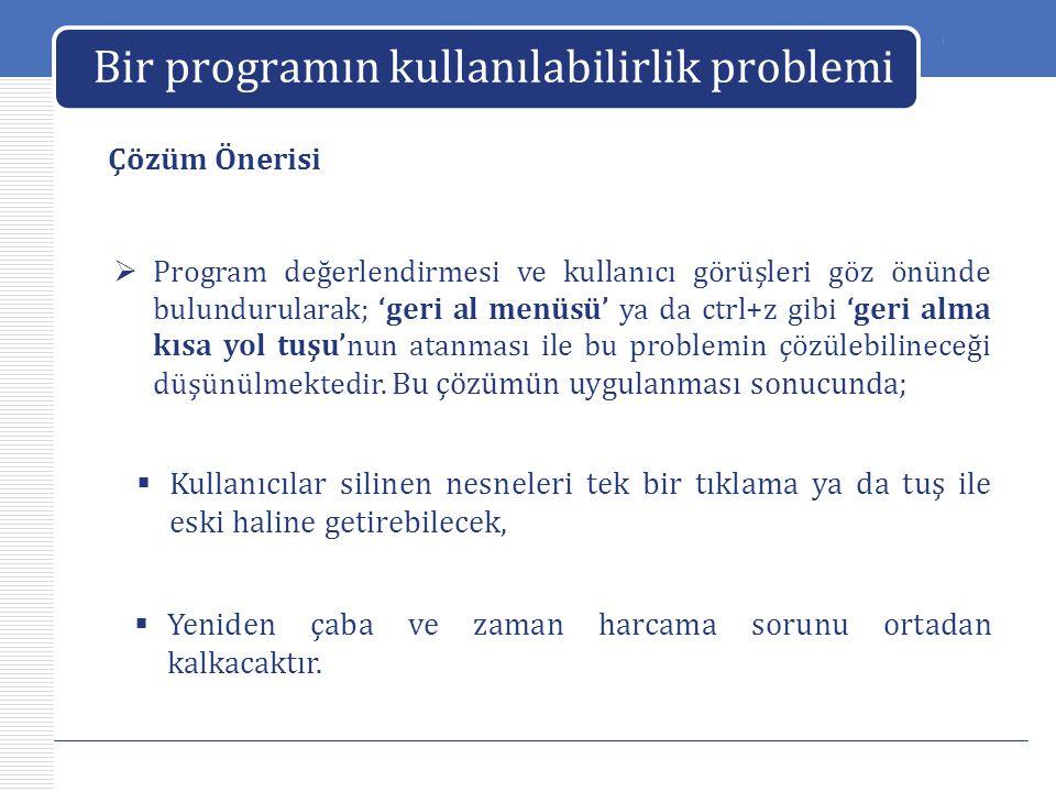 LOGO Bir programın kullanılabilirlik problemi Çözüm Önerisi  Program değerlendirmesi ve kullanıcı görüşleri göz önünde bulundurularak; 'geri al menüs