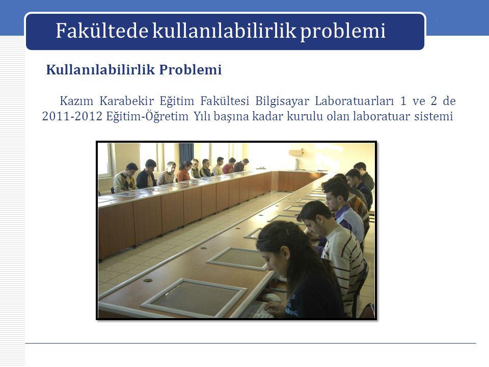 LOGO Fakültede kullanılabilirlik problemi Kazım Karabekir Eğitim Fakültesi Bilgisayar Laboratuarları 1 ve 2 de 2011-2012 Eğitim-Öğretim Yılı başına ka