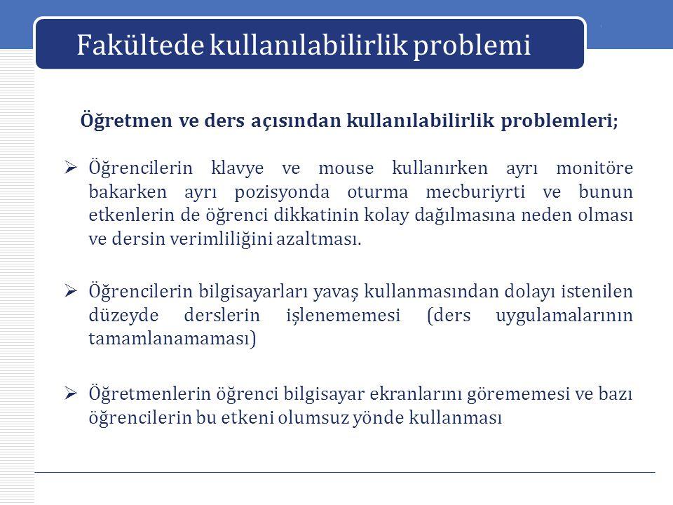 LOGO Fakültede kullanılabilirlik problemi Sistemin değerlendirilmesi  Bu laboratuar sistemi; derslerin istenilen seviyede, zamanda uygulanmasına çoğu zaman sorun teşkil ettiği için etkili bir sistem değildir.