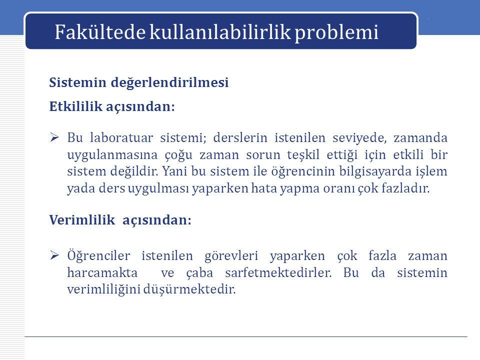 LOGO Fakültede kullanılabilirlik problemi Sistemin değerlendirilmesi  Ders ortamında oluşan bu sorunlar öğrencilerin bu sistemin kullanılmasından memnun kalmamalarına neden olmaktadır.
