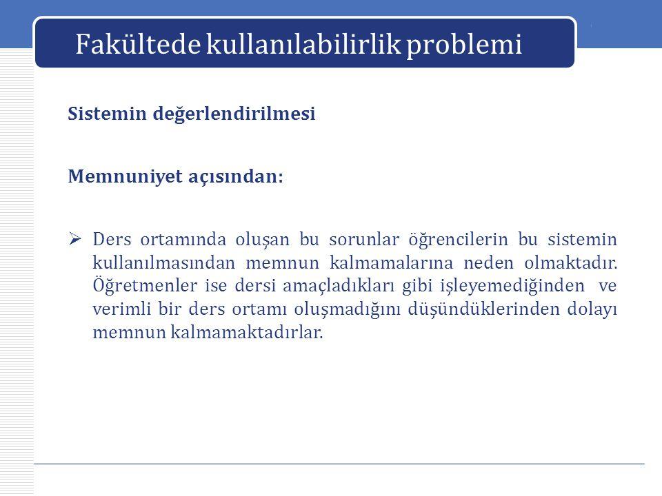 LOGO Fakültede kullanılabilirlik problemi Sistemin değerlendirilmesi  Ders ortamında oluşan bu sorunlar öğrencilerin bu sistemin kullanılmasından mem