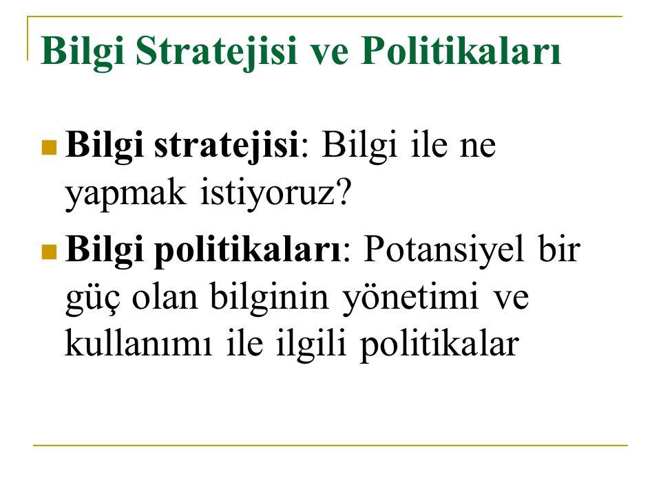 Bilgi Stratejisi ve Politikaları Bilgi stratejisi: Bilgi ile ne yapmak istiyoruz? Bilgi politikaları: Potansiyel bir güç olan bilginin yönetimi ve kul