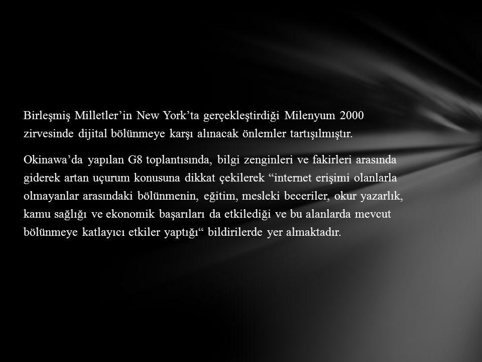 Birleşmiş Milletler'in New York'ta gerçekleştirdiği Milenyum 2000 zirvesinde dijital bölünmeye karşı alınacak önlemler tartışılmıştır.