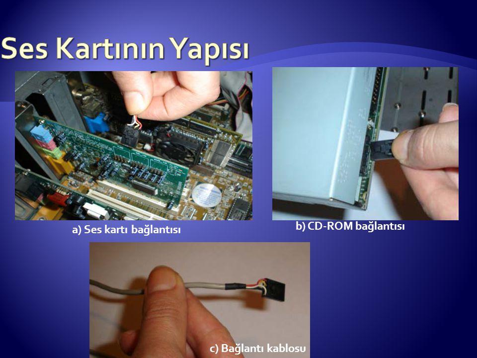 a) Ses kartı bağlantısı b) CD-ROM bağlantısı c) Bağlantı kablosu