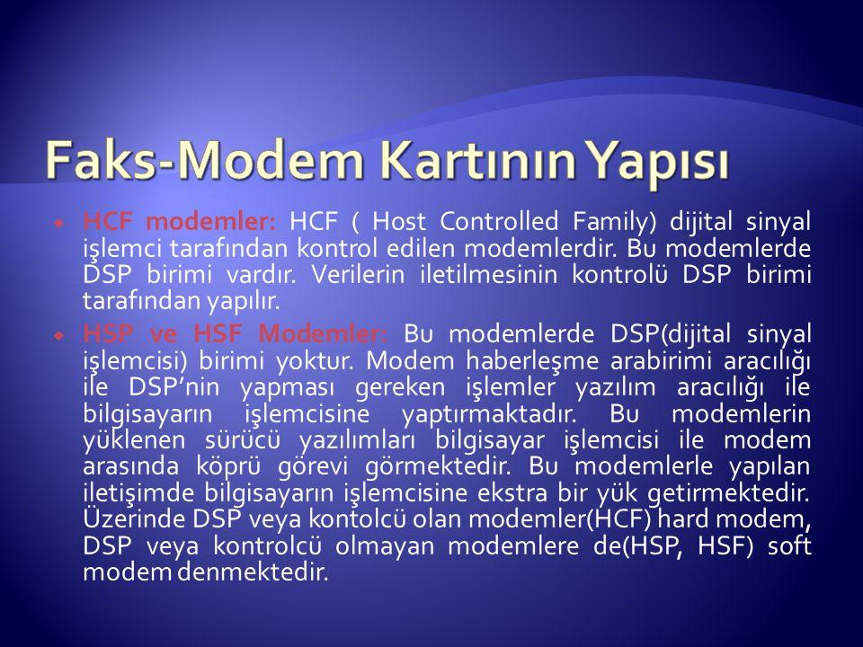 HCF modemler: HCF ( Host Controlled Family) dijital sinyal işlemci tarafından kontrol edilen modemlerdir. Bu modemlerde DSP birimi vardır. Verilerin