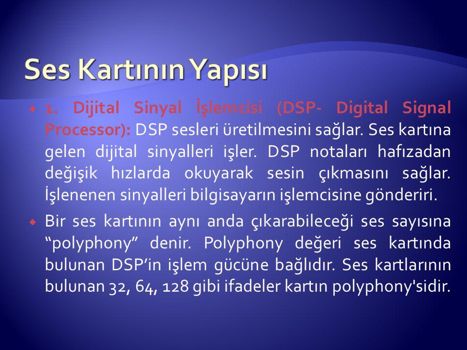 1. Dijital Sinyal İşlemcisi (DSP- Digital Signal Processor): DSP sesleri üretilmesini sağlar. Ses kartına gelen dijital sinyalleri işler. DSP notala