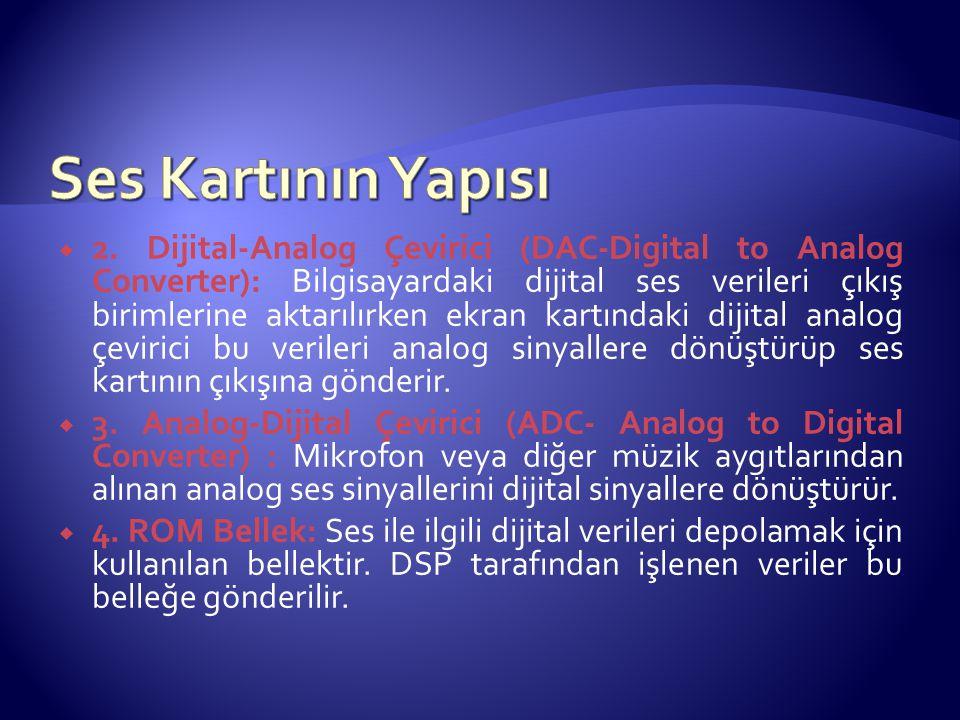  2. Dijital-Analog Çevirici (DAC-Digital to Analog Converter): Bilgisayardaki dijital ses verileri çıkış birimlerine aktarılırken ekran kartındaki di