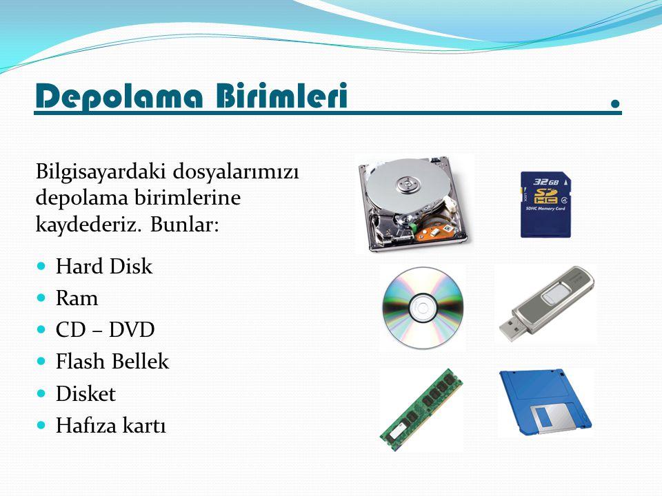 Depolama Birimleri. Bilgisayardaki dosyalarımızı depolama birimlerine kaydederiz. Bunlar: Hard Disk Ram CD – DVD Flash Bellek Disket Hafıza kartı