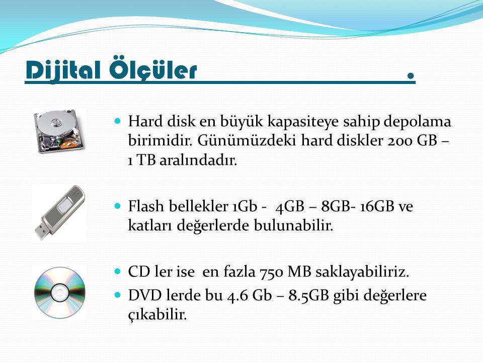 Hard disk en büyük kapasiteye sahip depolama birimidir. Günümüzdeki hard diskler 200 GB – 1 TB aralındadır. Flash bellekler 1Gb - 4GB – 8GB- 16GB ve k