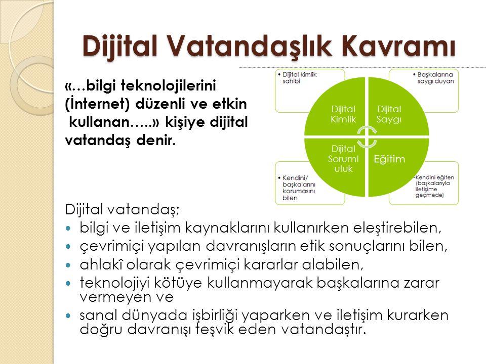 Dijital Vatandaşlık Kavramı «…bilgi teknolojilerini (İnternet) düzenli ve etkin kullanan…..» kişiye dijital vatandaş denir.