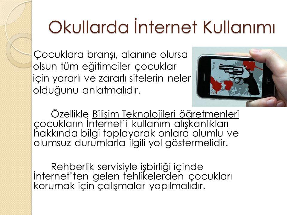 Okullarda İnternet Kullanımı Çocuklara branşı, alanıne olursa olsun tüm eğitimciler çocuklar için yararlı ve zararlı sitelerin neler olduğunu anlatmalıdır.