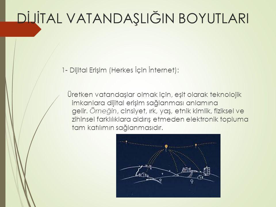 DİJİTAL VATANDAŞLIĞIN BOYUTLARI 1- Dijital Erişim (Herkes İçin İnternet): Üretken vatandaşlar olmak için, eşit olarak teknolojik imkanlara dijital erişim sağlanması anlamına gelir.