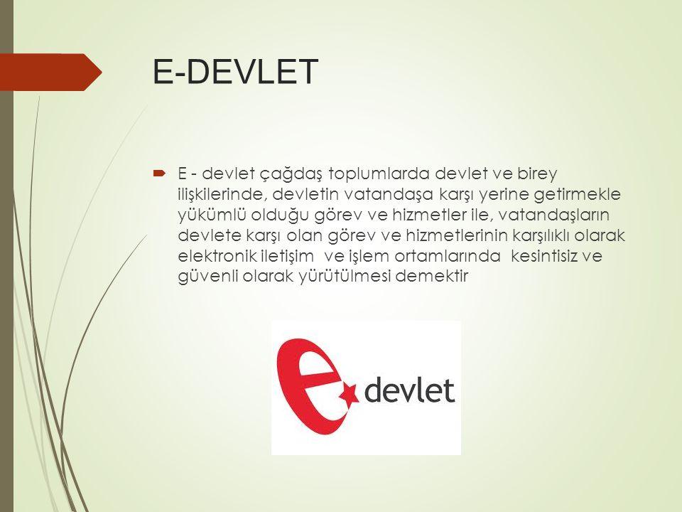 E-DEVLET  E - devlet çağdaş toplumlarda devlet ve birey ilişkilerinde, devletin vatandaşa karşı yerine getirmekle yükümlü olduğu görev ve hizmetler ile, vatandaşların devlete karşı olan görev ve hizmetlerinin karşılıklı olarak elektronik iletişim ve işlem ortamlarında kesintisiz ve güvenli olarak yürütülmesi demektir
