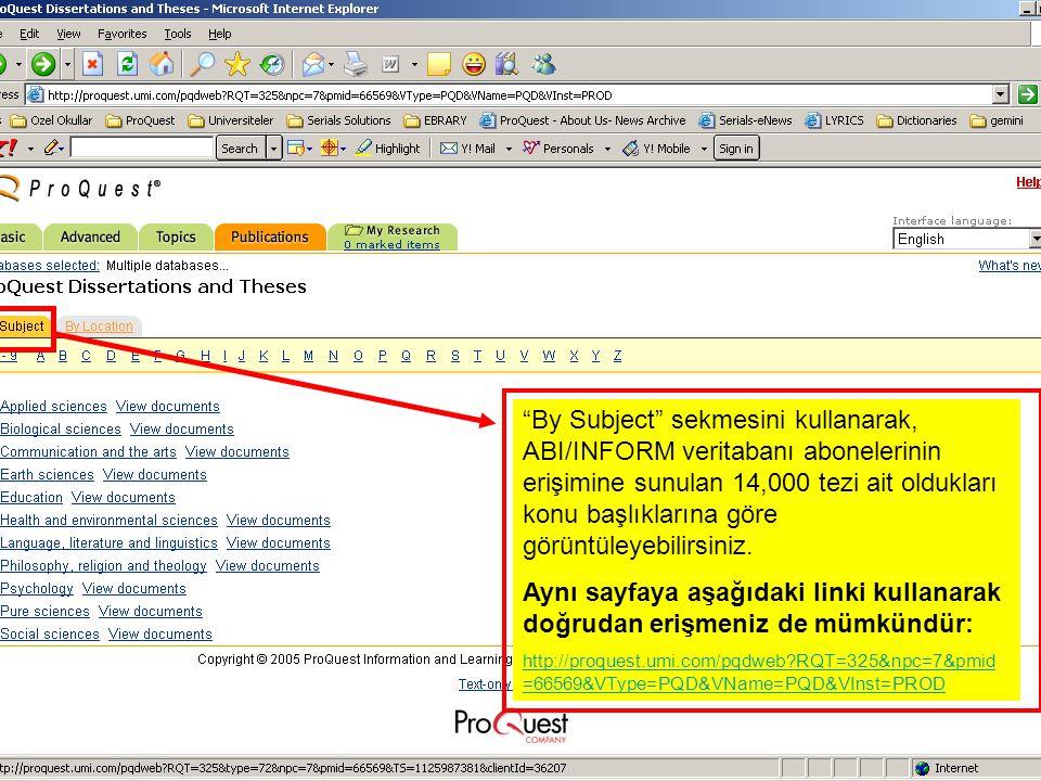 By Subject sekmesini kullanarak, ABI/INFORM veritabanı abonelerinin erişimine sunulan 14,000 tezi ait oldukları konu başlıklarına göre görüntüleyebilirsiniz.