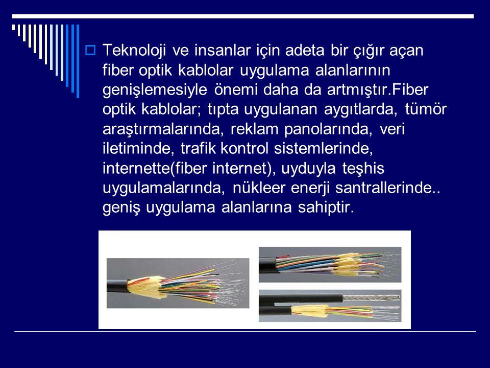  Teknoloji ve insanlar için adeta bir çığır açan fiber optik kablolar uygulama alanlarının genişlemesiyle önemi daha da artmıştır.Fiber optik kablola
