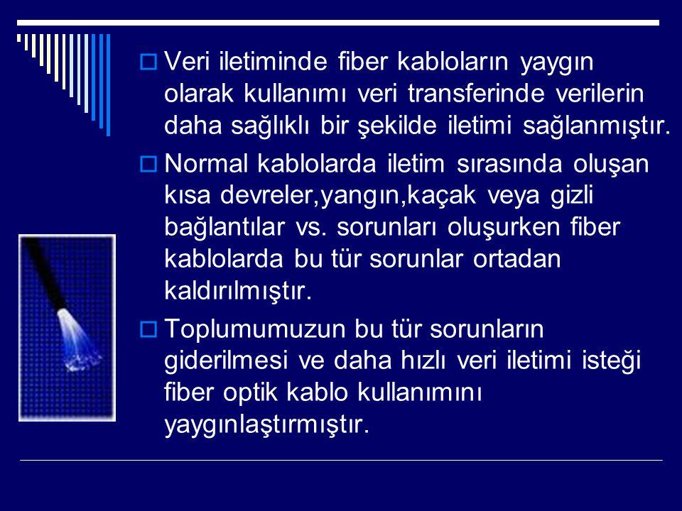  Veri iletiminde fiber kabloların yaygın olarak kullanımı veri transferinde verilerin daha sağlıklı bir şekilde iletimi sağlanmıştır.  Normal kablol