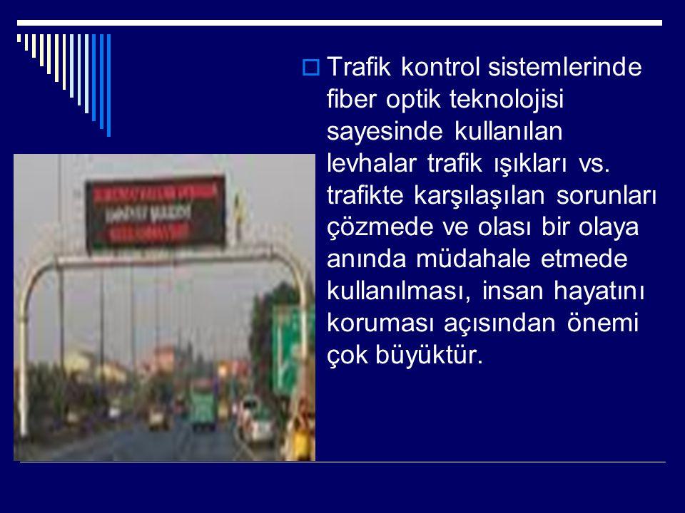  Trafik kontrol sistemlerinde fiber optik teknolojisi sayesinde kullanılan levhalar trafik ışıkları vs. trafikte karşılaşılan sorunları çözmede ve ol