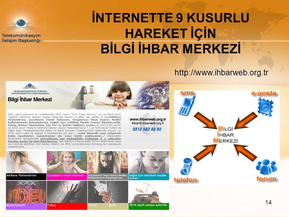 14 İNTERNETTE 9 KUSURLU HAREKET İÇİN BİLGİ İHBAR MERKEZİ http://www.ihbarweb.org.tr