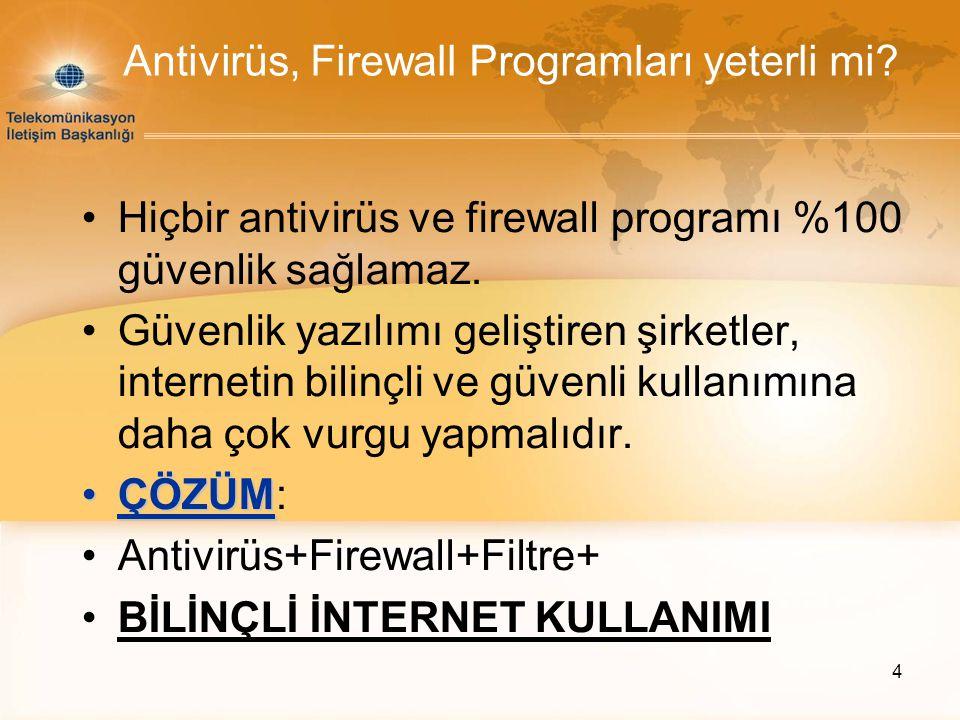 4 Antivirüs, Firewall Programları yeterli mi? Hiçbir antivirüs ve firewall programı %100 güvenlik sağlamaz. Güvenlik yazılımı geliştiren şirketler, in