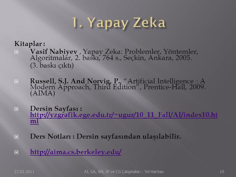 Kitaplar :  Vasif Nabiyev, Yapay Zeka: Problemler, Yöntemler, Algoritmalar, 2. baskı, 764 s., Seçkin, Ankara, 2005. (3. baskı çıktı)  Russell, S.J.