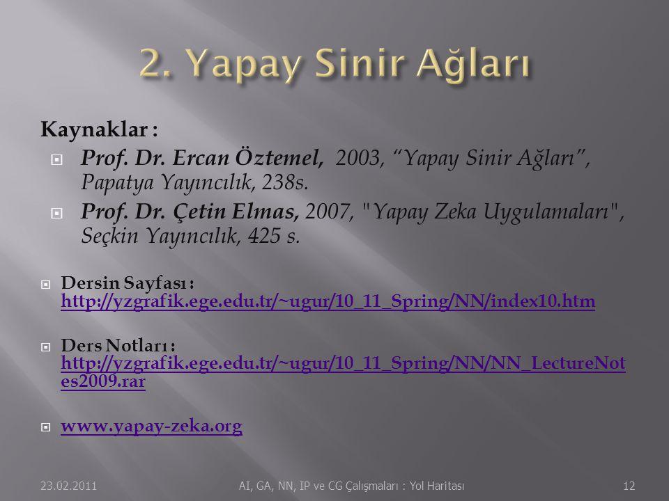 """Kaynaklar :  Prof. Dr. Ercan Öztemel, 2003, """"Yapay Sinir Ağları"""", Papatya Yayıncılık, 238s.  Prof. Dr. Çetin Elmas, 2007,"""