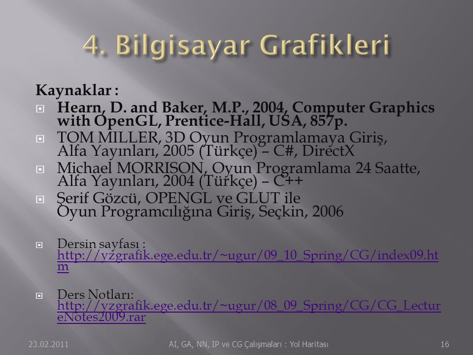 Kaynaklar :  Hearn, D. and Baker, M.P., 2004, Computer Graphics with OpenGL, Prentice-Hall, USA, 857p.  TOM MILLER, 3D Oyun Programlamaya Giriş, Alf