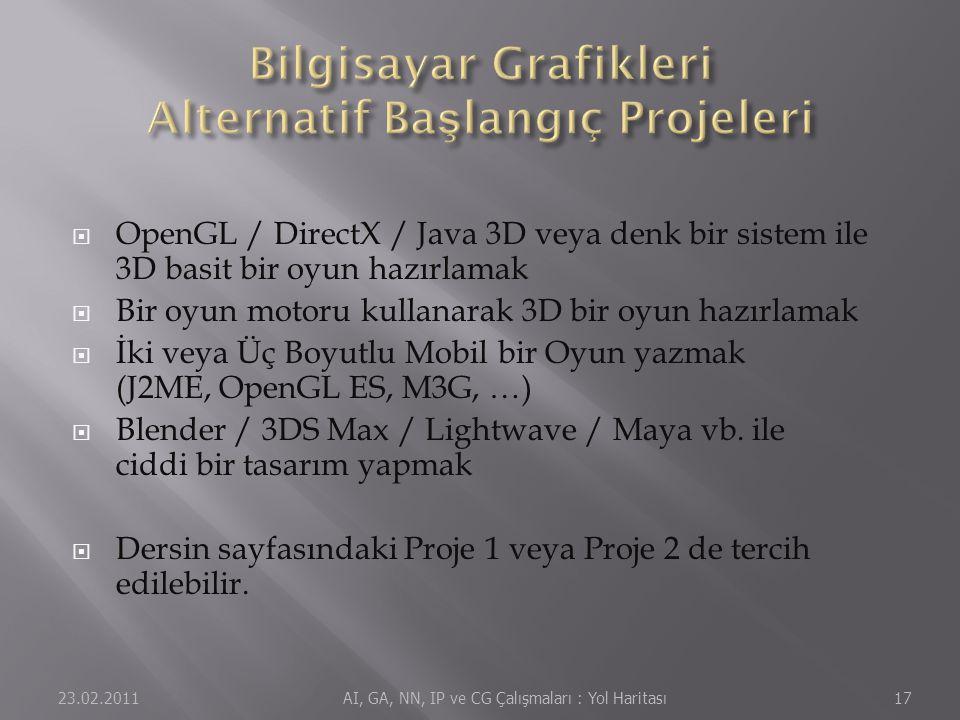  OpenGL / DirectX / Java 3D veya denk bir sistem ile 3D basit bir oyun hazırlamak  Bir oyun motoru kullanarak 3D bir oyun hazırlamak  İki veya Üç Boyutlu Mobil bir Oyun yazmak (J2ME, OpenGL ES, M3G, …)  Blender / 3DS Max / Lightwave / Maya vb.