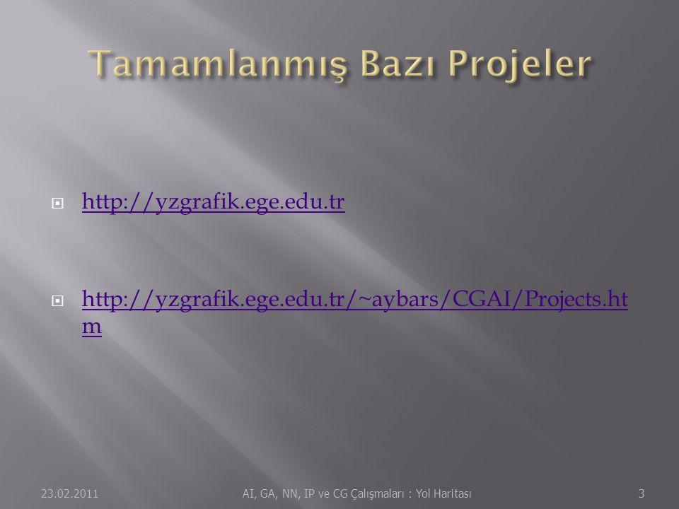  http://yzgrafik.ege.edu.tr http://yzgrafik.ege.edu.tr  http://yzgrafik.ege.edu.tr/~aybars/CGAI/Projects.ht m http://yzgrafik.ege.edu.tr/~aybars/CGAI/Projects.ht m 23.02.20113 AI, GA, NN, IP ve CG Çalışmaları : Yol Haritası