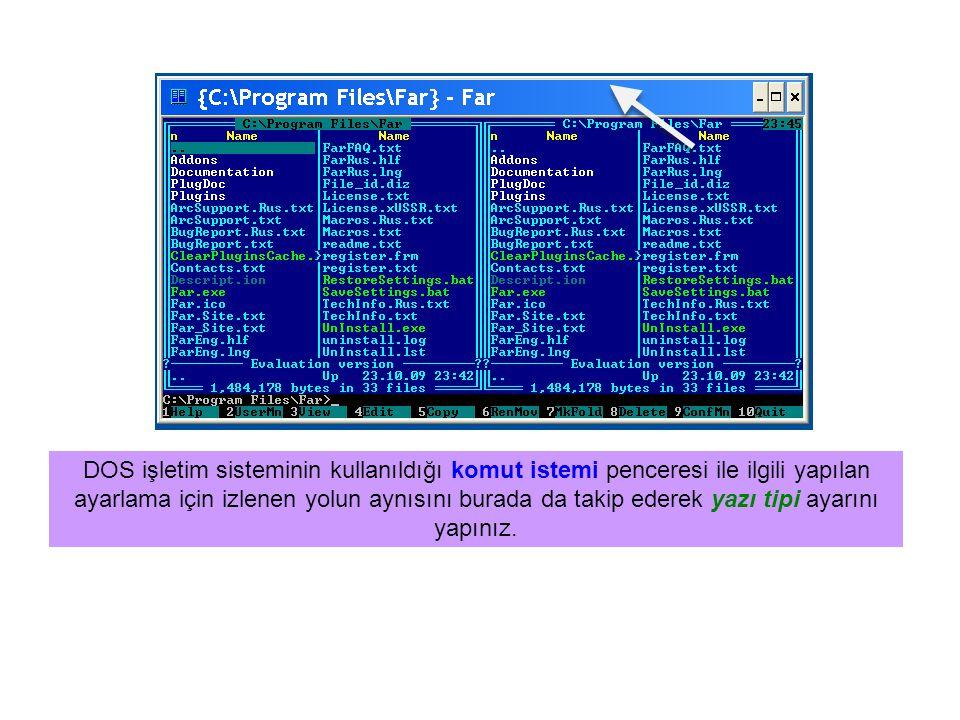 Far Manager ekranından komut istemi ekranına geçiş Far Manager açık iken ctrl+O tuşlarına birlikte basılırsa ekrandaki pencerede DOS işletim sisteminin ekranı açılır.