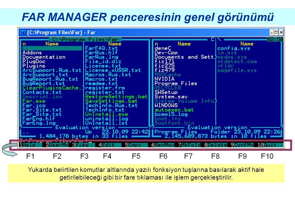 FONKSİYONLARIN İŞLEVLERİ far manager ile ilgili yardım menüsünü açar far manager versiyonu hakkında bilgi verir seçili dosyanın içini görüntüler seçili dosyanın içini gösterir ve değişiklik yapılmasına izin verir.