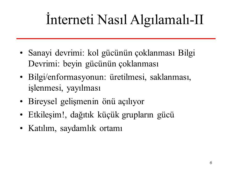 17 Katılım, Demokrasi ve İnternet Anti-global hareket interneti çok etkin...