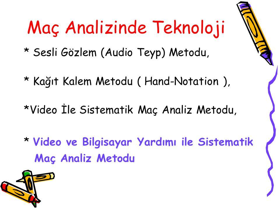 Maç Analizinde Teknoloji * Sesli Gözlem (Audio Teyp) Metodu, * Kağıt Kalem Metodu ( Hand-Notation ), *Video İle Sistematik Maç Analiz Metodu, * Video