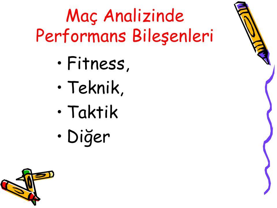 Maç Analizinde Performans Bileşenleri Fitness, Teknik, Taktik Diğer