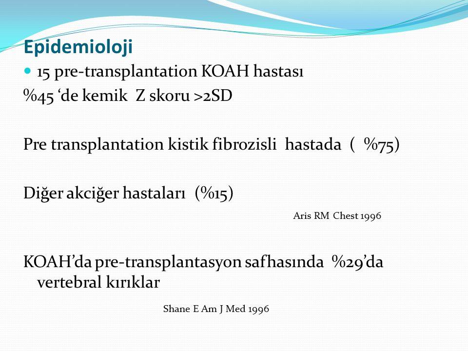 Epidemioloji 15 pre-transplantation KOAH hastası %45 'de kemik Z skoru >2SD Pre transplantation kistik fibrozisli hastada ( %75) Diğer akciğer hastala
