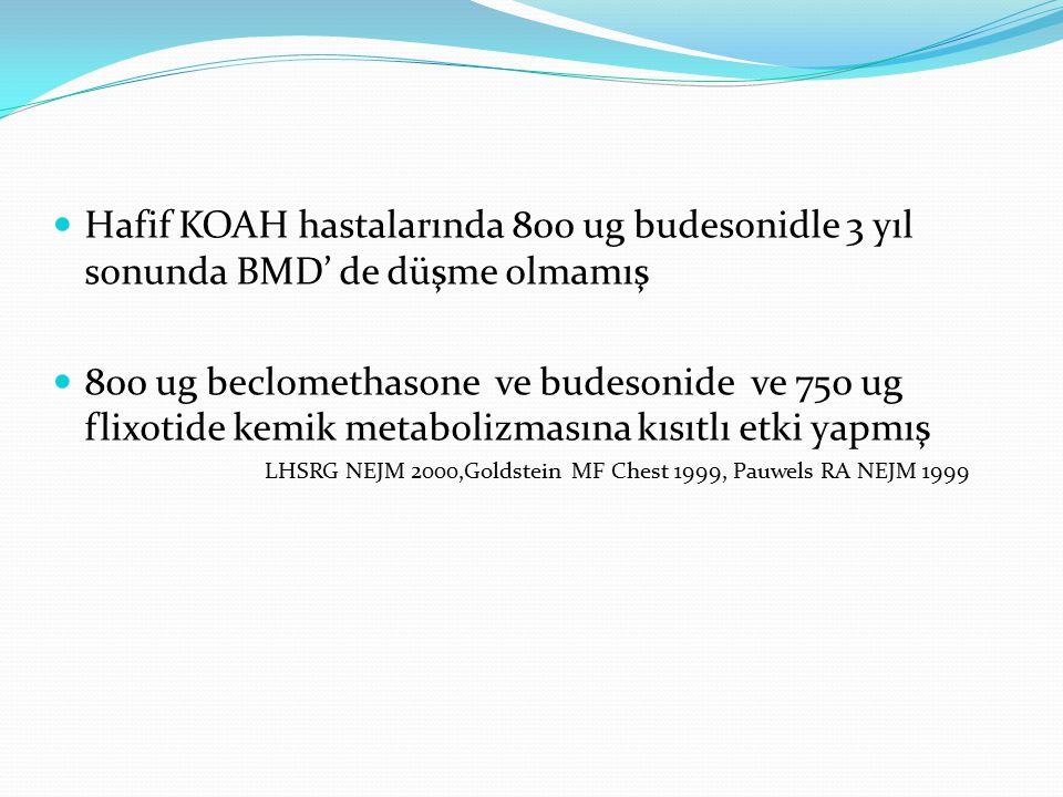 Hafif KOAH hastalarında 800 ug budesonidle 3 yıl sonunda BMD' de düşme olmamış 800 ug beclomethasone ve budesonide ve 750 ug flixotide kemik metaboliz