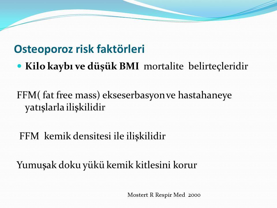 Osteoporoz risk faktörleri Kilo kaybı ve düşük BMI mortalite belirteçleridir FFM( fat free mass) ekseserbasyon ve hastahaneye yatışlarla ilişkilidir F