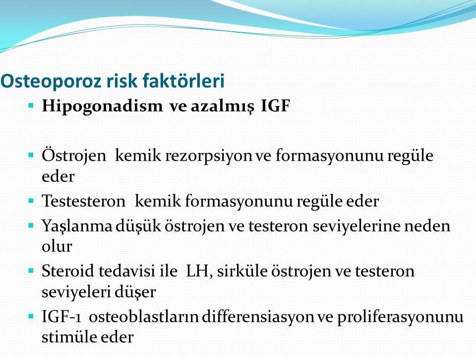 Osteoporoz risk faktörleri  Hipogonadism ve azalmış IGF  Östrojen kemik rezorpsiyon ve formasyonunu regüle eder  Testesteron kemik formasyonunu reg