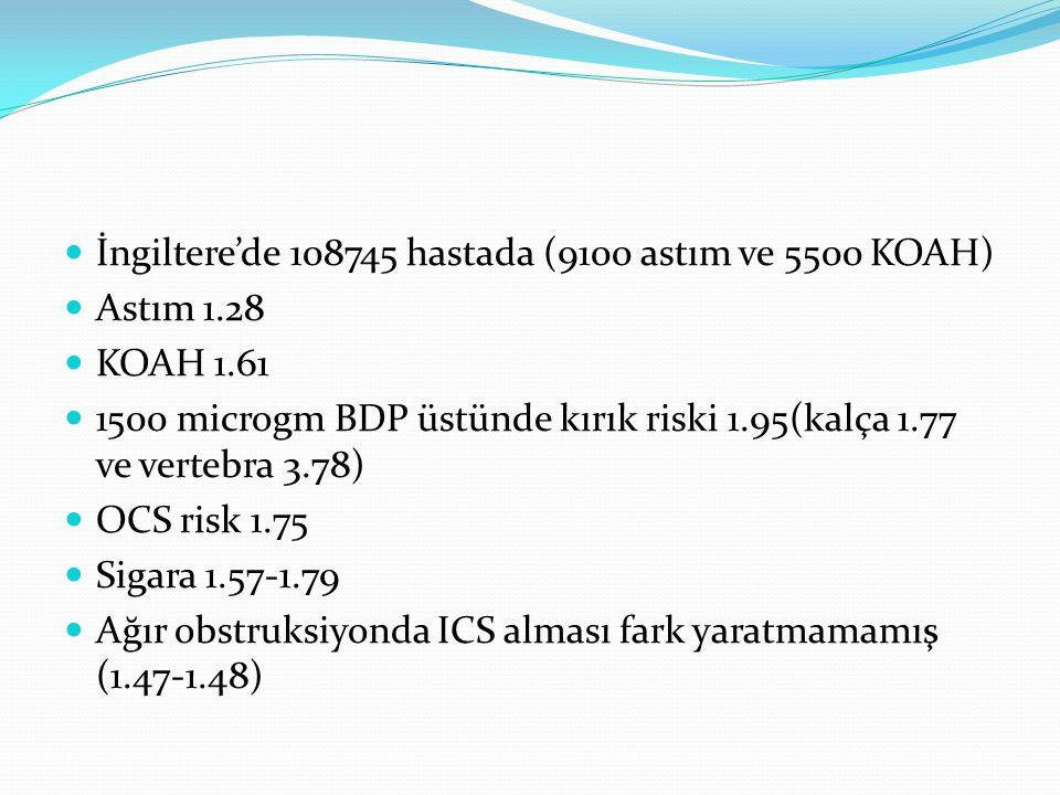 İngiltere'de 108745 hastada (9100 astım ve 5500 KOAH) Astım 1.28 KOAH 1.61 1500 microgm BDP üstünde kırık riski 1.95(kalça 1.77 ve vertebra 3.78) OCS