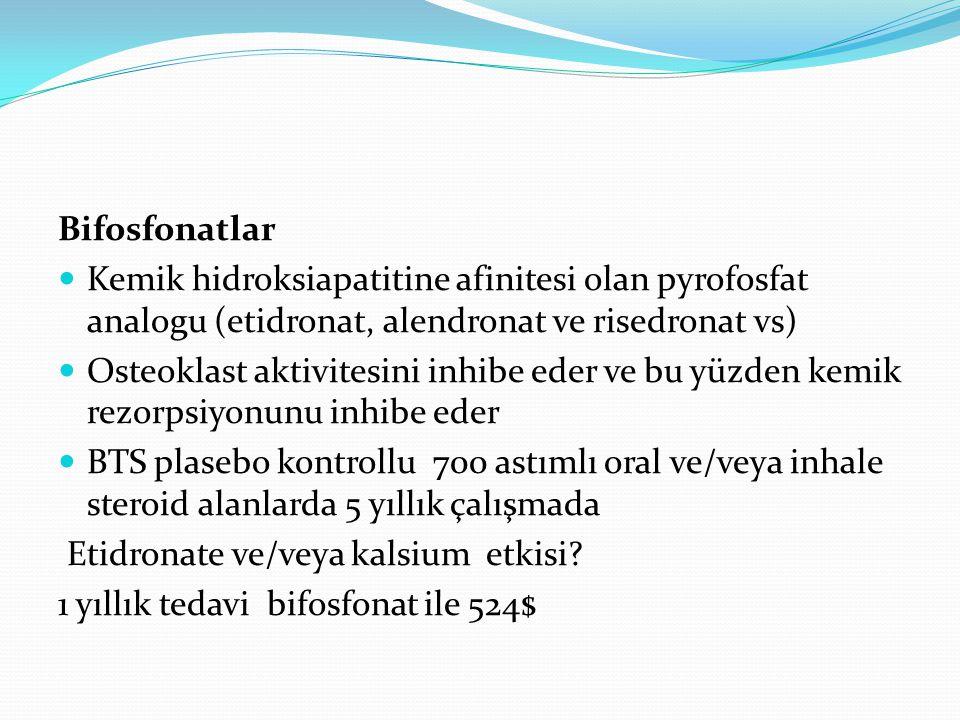 Bifosfonatlar Kemik hidroksiapatitine afinitesi olan pyrofosfat analogu (etidronat, alendronat ve risedronat vs) Osteoklast aktivitesini inhibe eder v