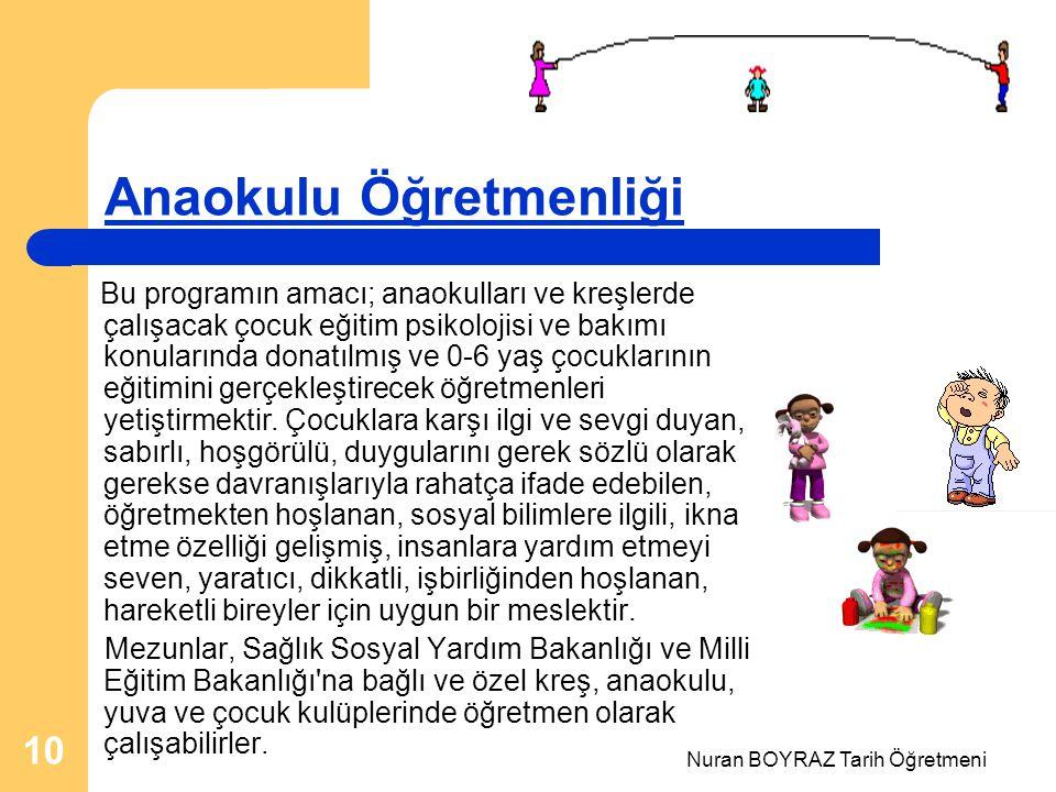 Nuran BOYRAZ Tarih Öğretmeni 10 Anaokulu Öğretmenliği Bu programın amacı; anaokulları ve kreşlerde çalışacak çocuk eğitim psikolojisi ve bakımı konularında donatılmış ve 0-6 yaş çocuklarının eğitimini gerçekleştirecek öğretmenleri yetiştirmektir.