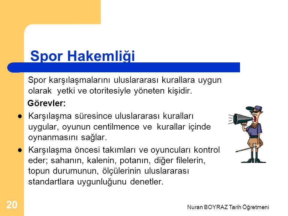 Nuran BOYRAZ Tarih Öğretmeni 20 Spor Hakemliği Spor karşılaşmalarını uluslararası kurallara uygun olarak yetki ve otoritesiyle yöneten kişidir. Görevl